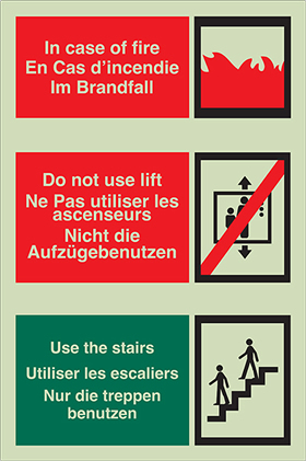 Multi-lingual in case of fire sign.