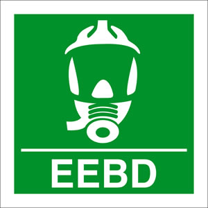 Eebd - emegency escape breathing device sign.