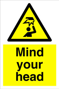 Mind your head + symbol sign.