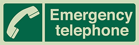 Emergency telephone sign.