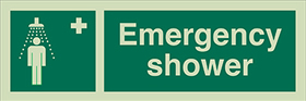 Emergency shower sign.
