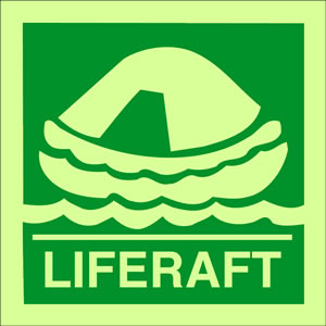 Liferaft sign.
