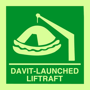 Davit-launched liferaft sign.