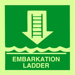 Embarkation ladder sign.