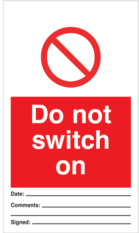 Do not switch on - pack of 10 tags.