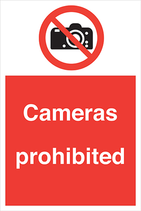 Cameras prohibited sign.