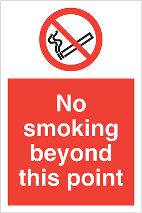 no smoking beyond this point sign.