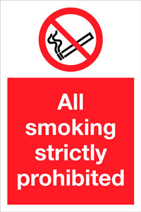 All smoking strictly prohibited sign.