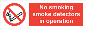 no smoking smoke detectors in operation. sign.