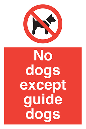 No dogs except guide dogs sign.