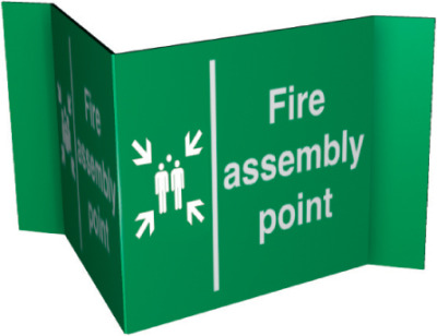 Fire assembly point : 3mm 3mm foamex projecting sign.
