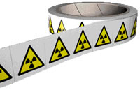 Radiation symbol label roll contains 250.