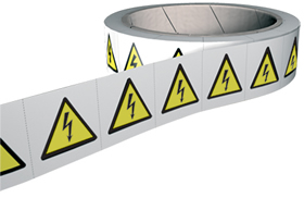 Electric shock symbol labels 250 labels per roll sign.