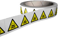 Poison symbol labels 250 labels per roll sign.