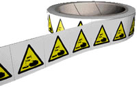 Acid symbol labels 250 labels per roll sign.