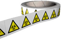 Biohazard symbol label roll contains 250.