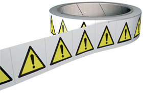 Warning symbol labels 250 labels per roll sign.