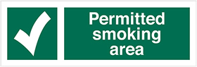Permitted smoking area sign.