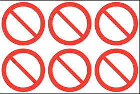No entry symbols. 24 pack 6 to a sheet sign.