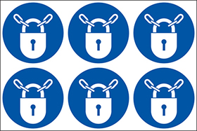 Keep locked symbols. 24 pack 6 to a sheet sign.