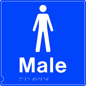 Male toilet symbol blue braille sign.