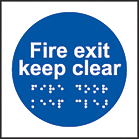 Fire exit keep clear sign.