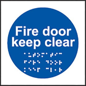 Fire door keep clear braille fire door sign.