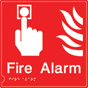 Fire alarm symbol DDA sign on white background sign.
