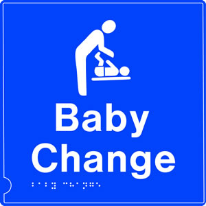 Baby changing room symbol blue braille sign.
