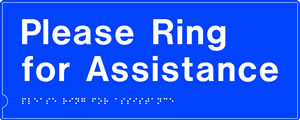 Press for assistance disabled symbol braille sign on white background sign.