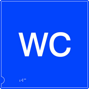 Wc blue braille sign.