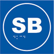 Sb braille on blue background sign.