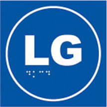 LG lift sign on sign on blue background.