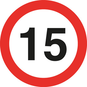 15 speed limit sign.