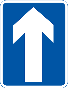 White arrow up on blue background sign.