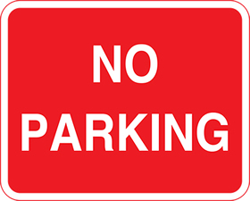 No parking white on red background sign.