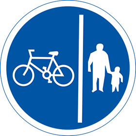 Cycle and pedestrian lane 3mm aluminuim sign.