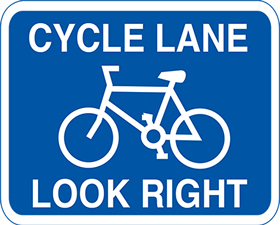 Cycle lane look right 3mm aluminium sign.