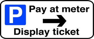 Pay at meter display ticket right sign.