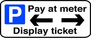 Pay at meter display ticket left/right sign.