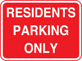 Residents parking only sign.