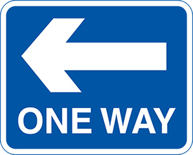 ONE WAY left arrow sign.
