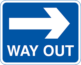way out arrow right sign.