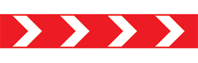 White on red chevrons right sign.
