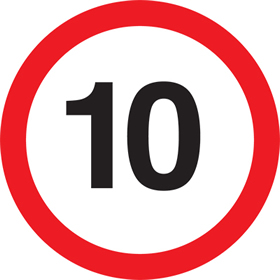 10 speed limit sign.