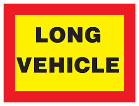 Long vehicle on class 2 reflective vinyl sign.