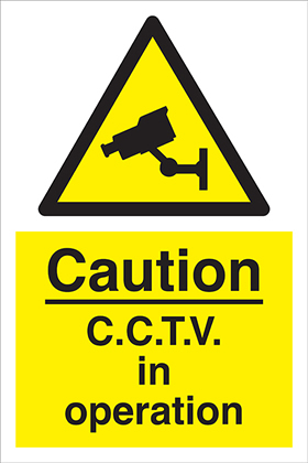 Caution - CCTV in operation sign.