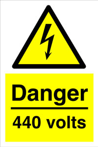 Danger 440 volts sign.