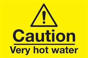 Caution - very hot water sign.