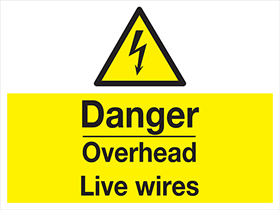Danger - overhead live wires label.